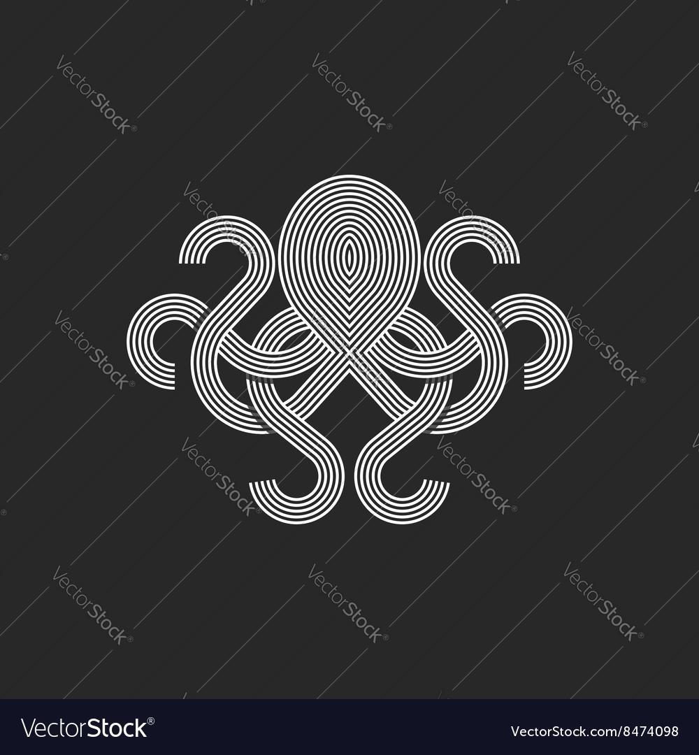 Silhouette octopus logo monogram mockup seafood