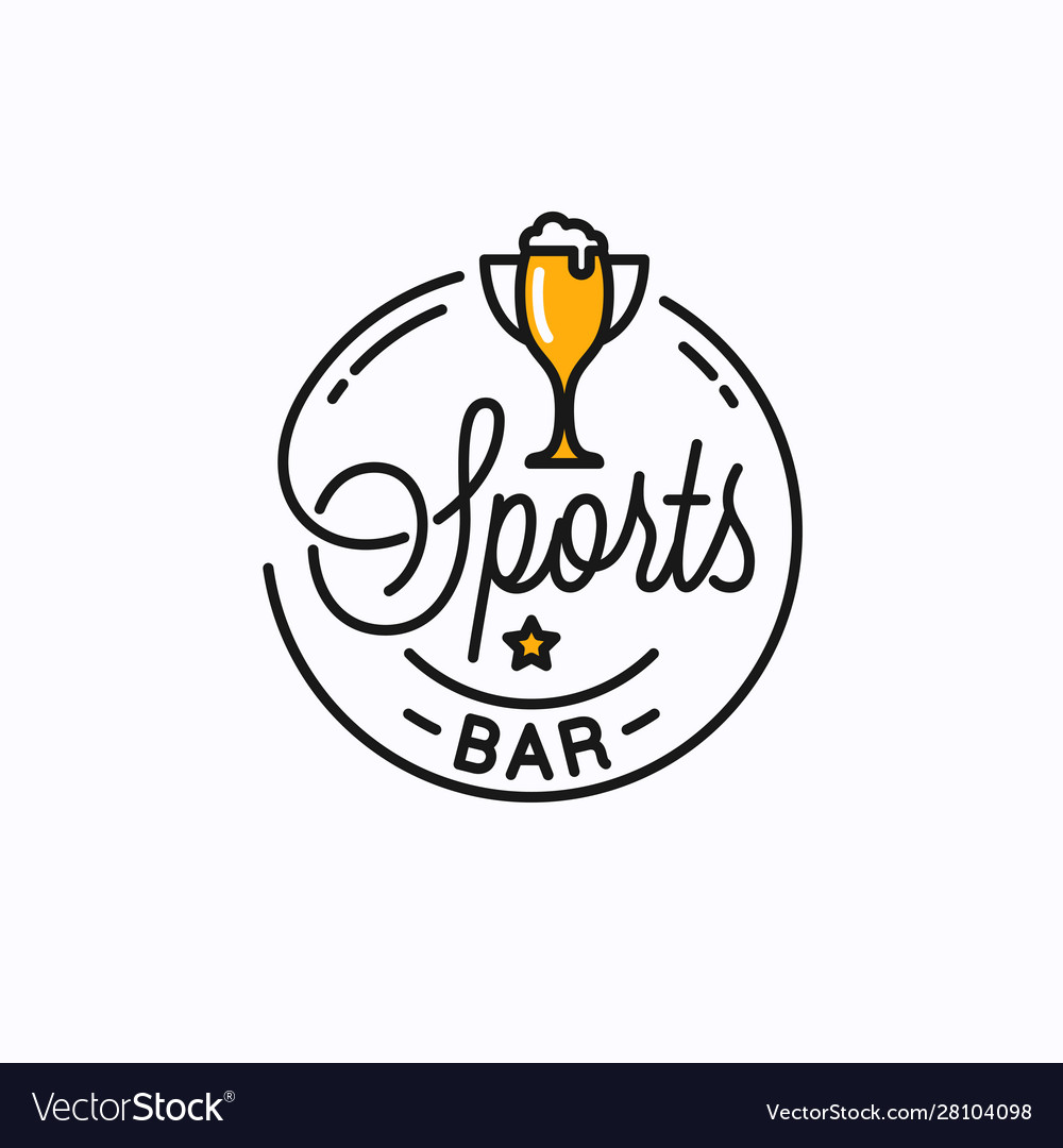Sports bar logo round linear sports trophy cup