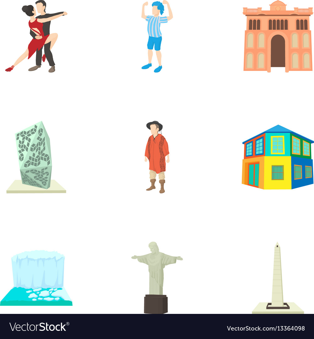 Tourism in brazil icons set cartoon style vector image