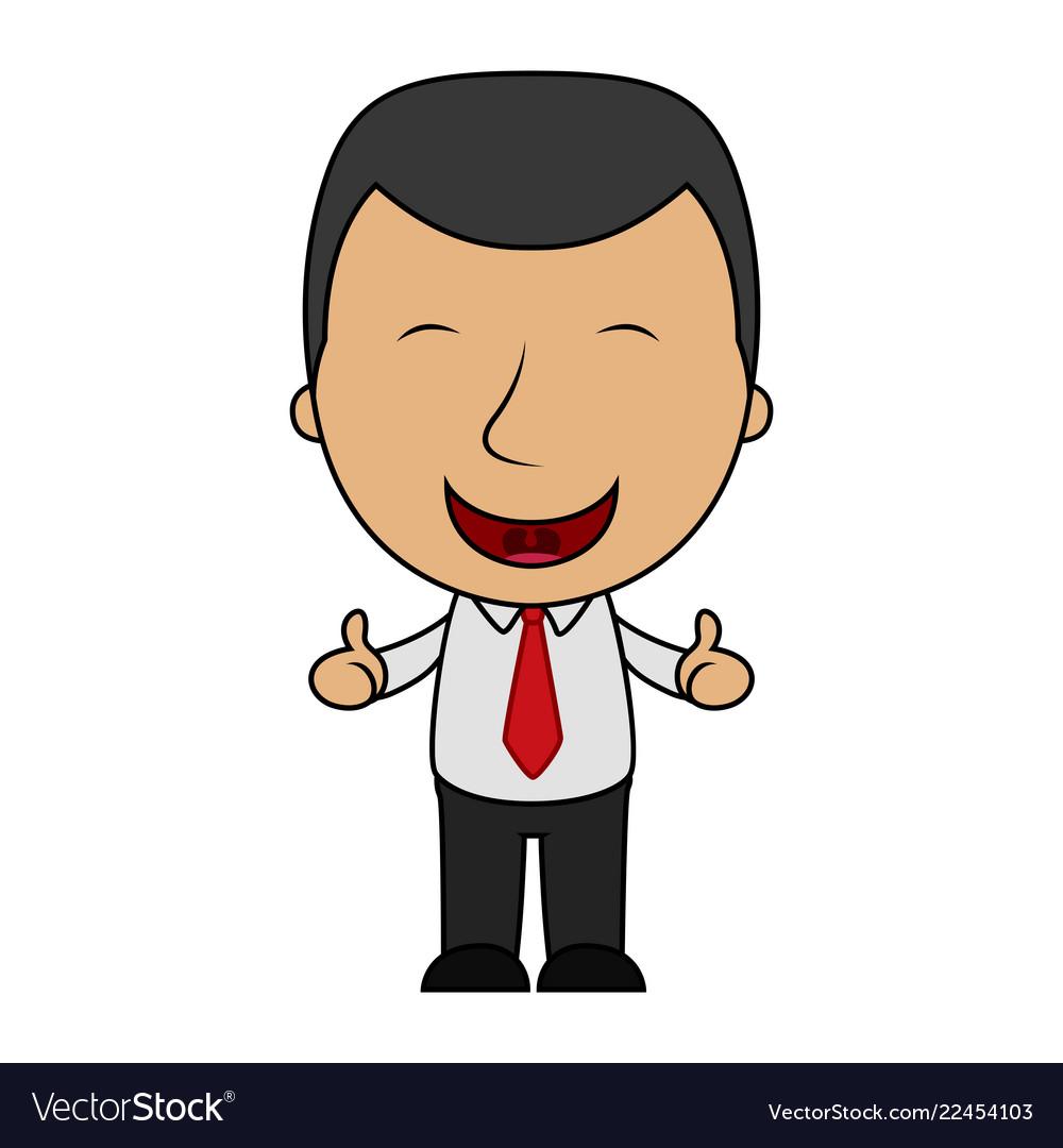 Cartoon happy businessman making thumbs up sign