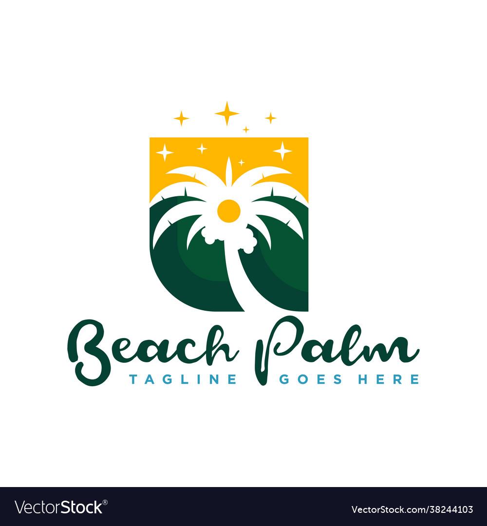 Coconut tree logo with beach view