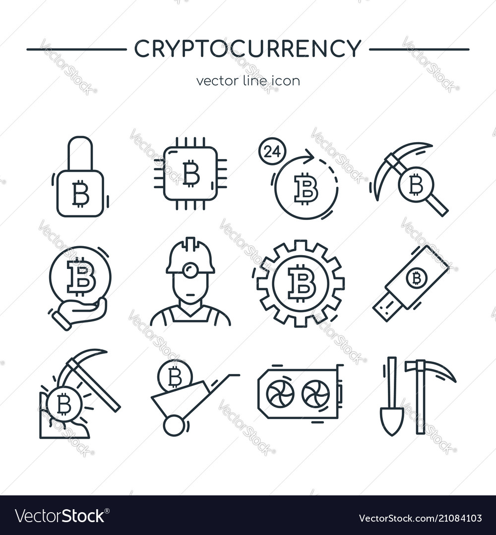 Cryptocurrency mining icon collection line art