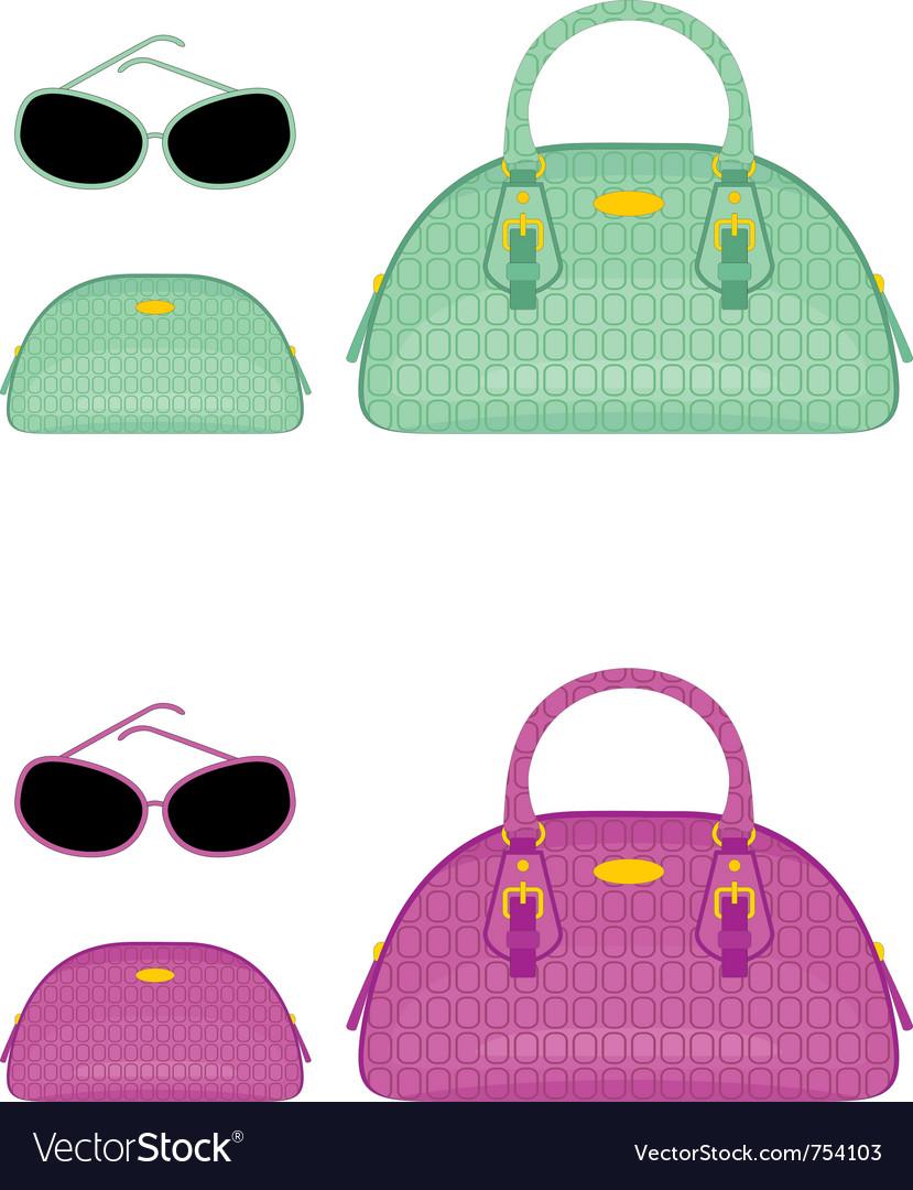 Female bags beauticians and sun glasses