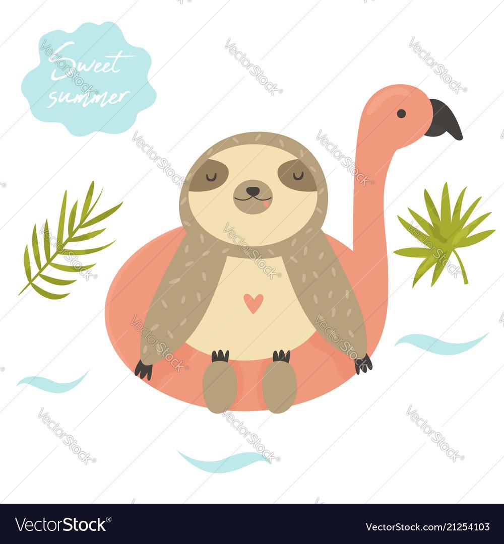 Funny swimming sloth summertime design