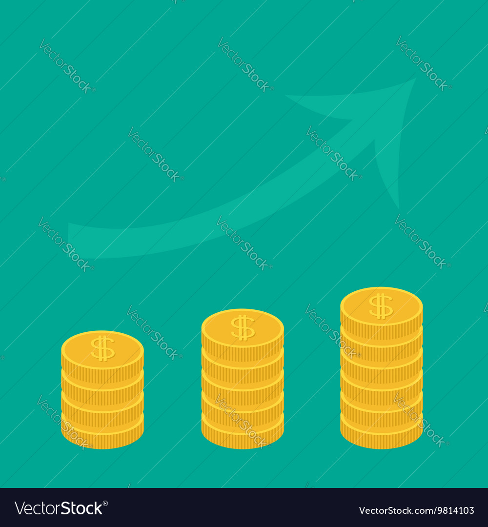 Gold coin stacks icon in shape of diagram Upward