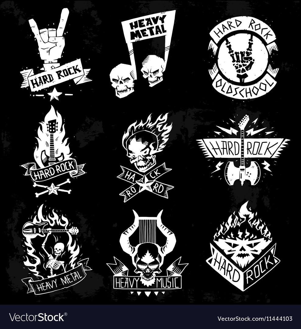 Heavy Metal rock badges set