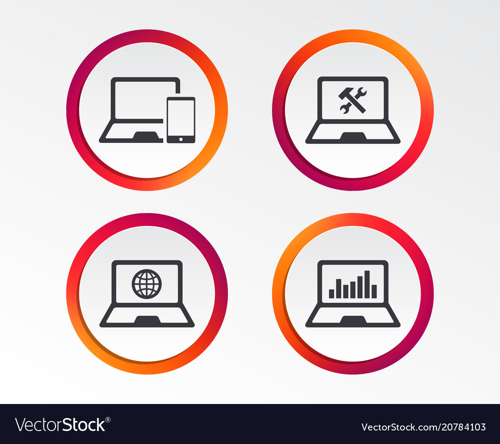 Notebook laptop pc icons repair fix service vector image