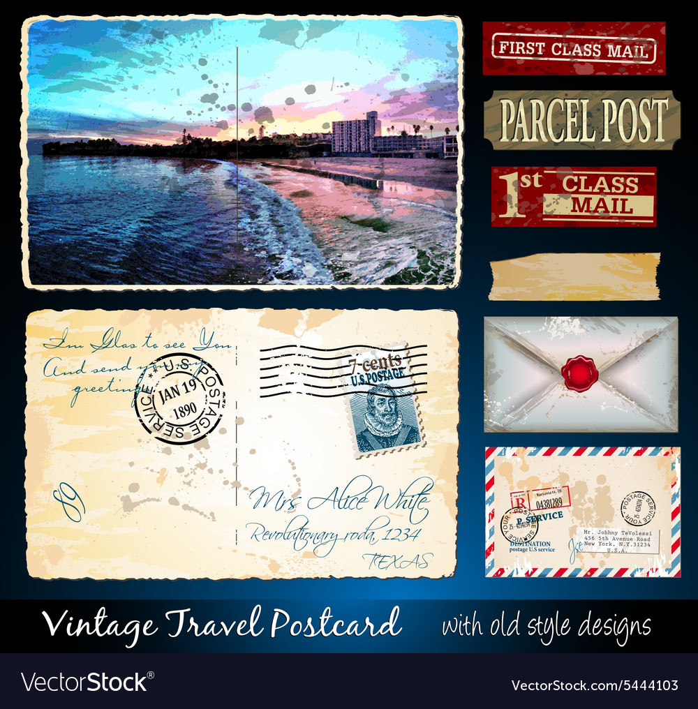 Santa Cruz Travel Vintage Postcard Design