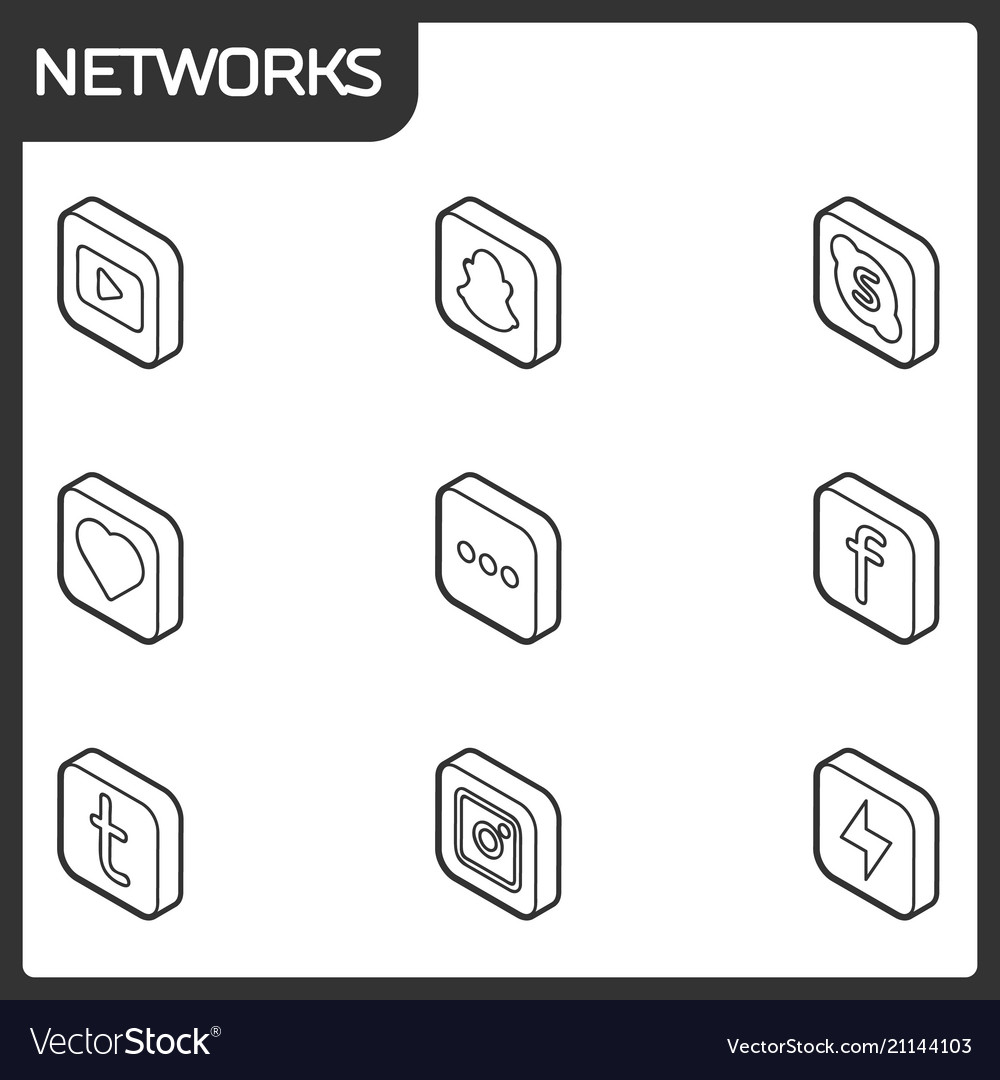 Social network outline isometric icons
