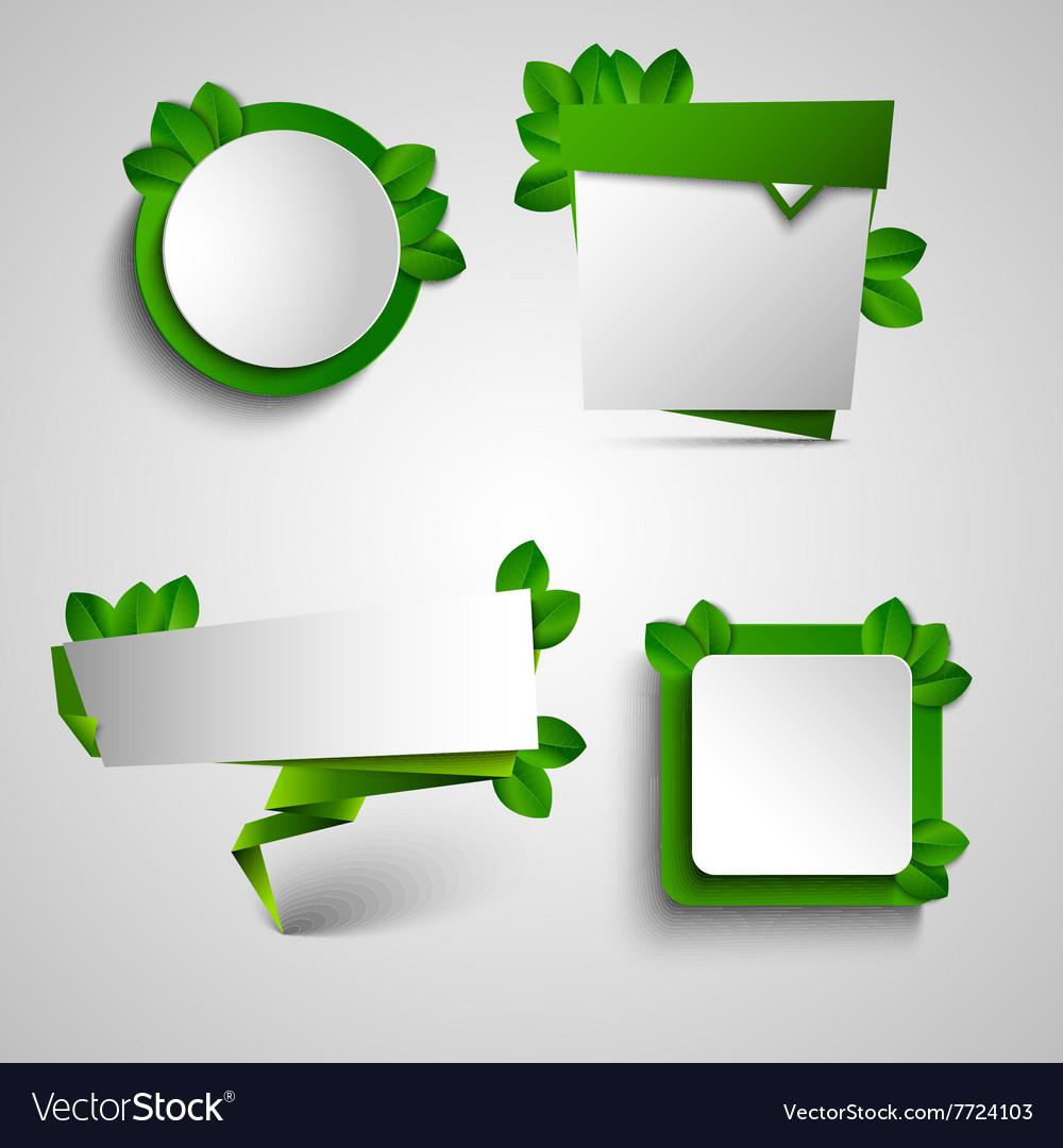 Spring green frame pointer tag design element Vector Image