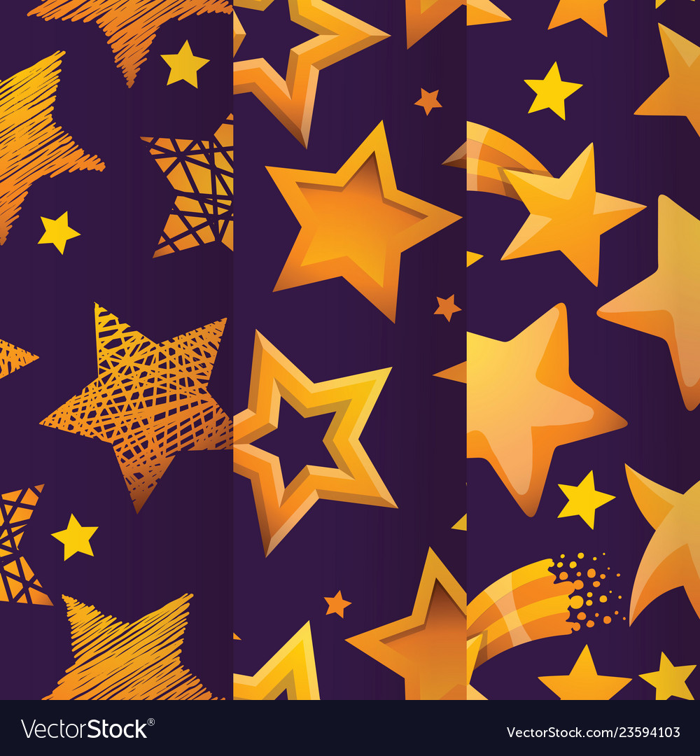 Stars in different styles seamless pattern