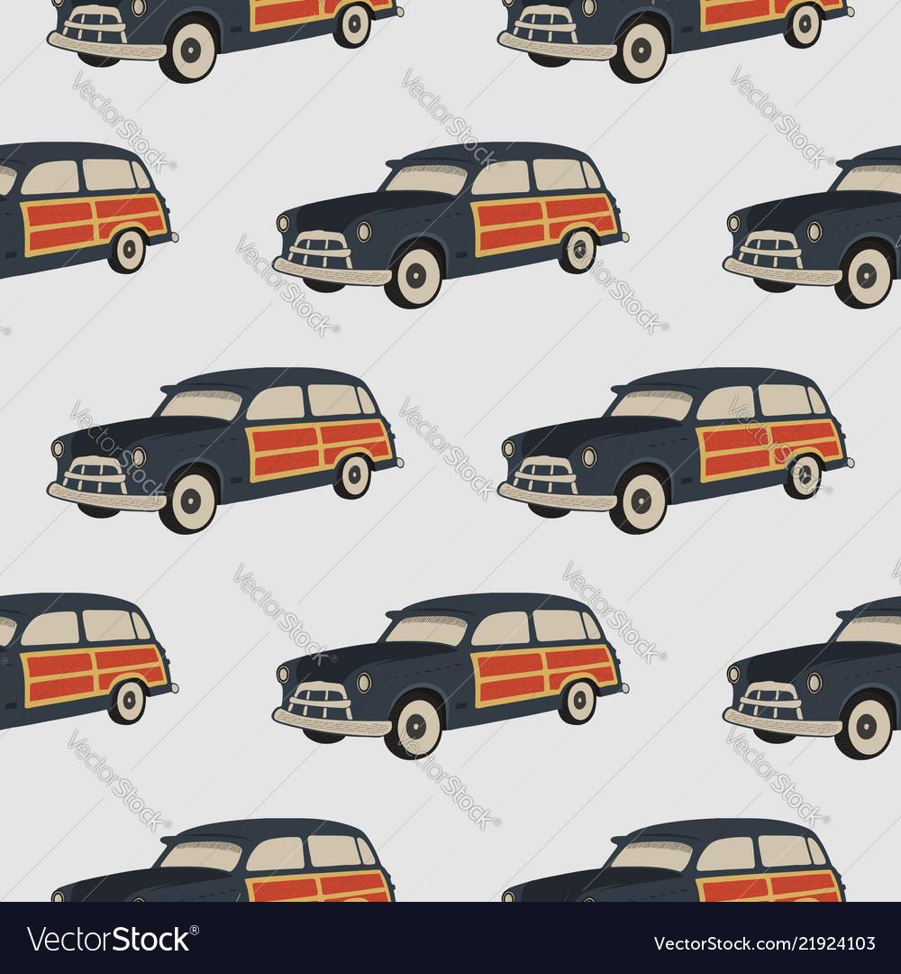 Surf car pattern surfing seamless wallpaper