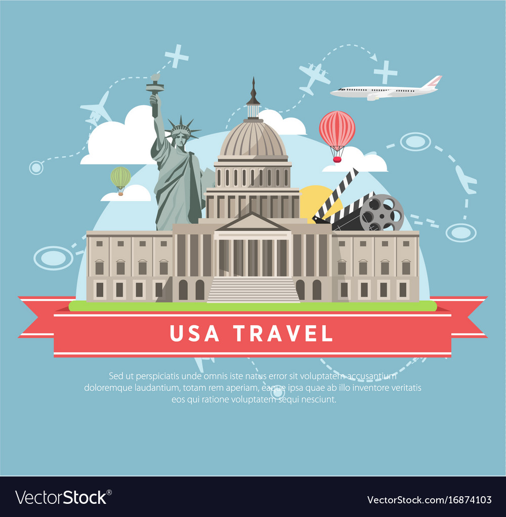 Usa travel promotional poster with main famous