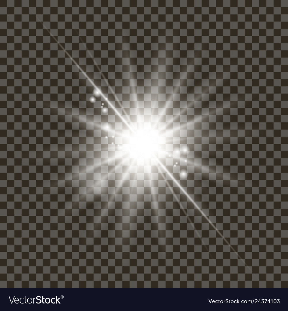White glowing light burst with transparent on