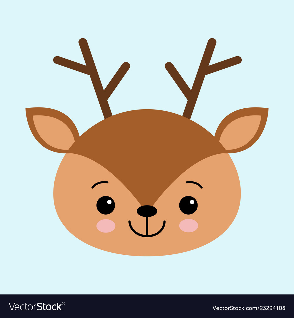 A head of a cute deer on a blue background