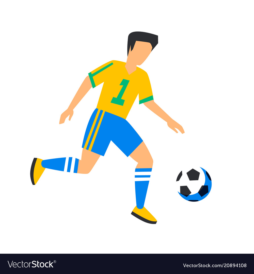 Abstract yellow football player with ball soccer