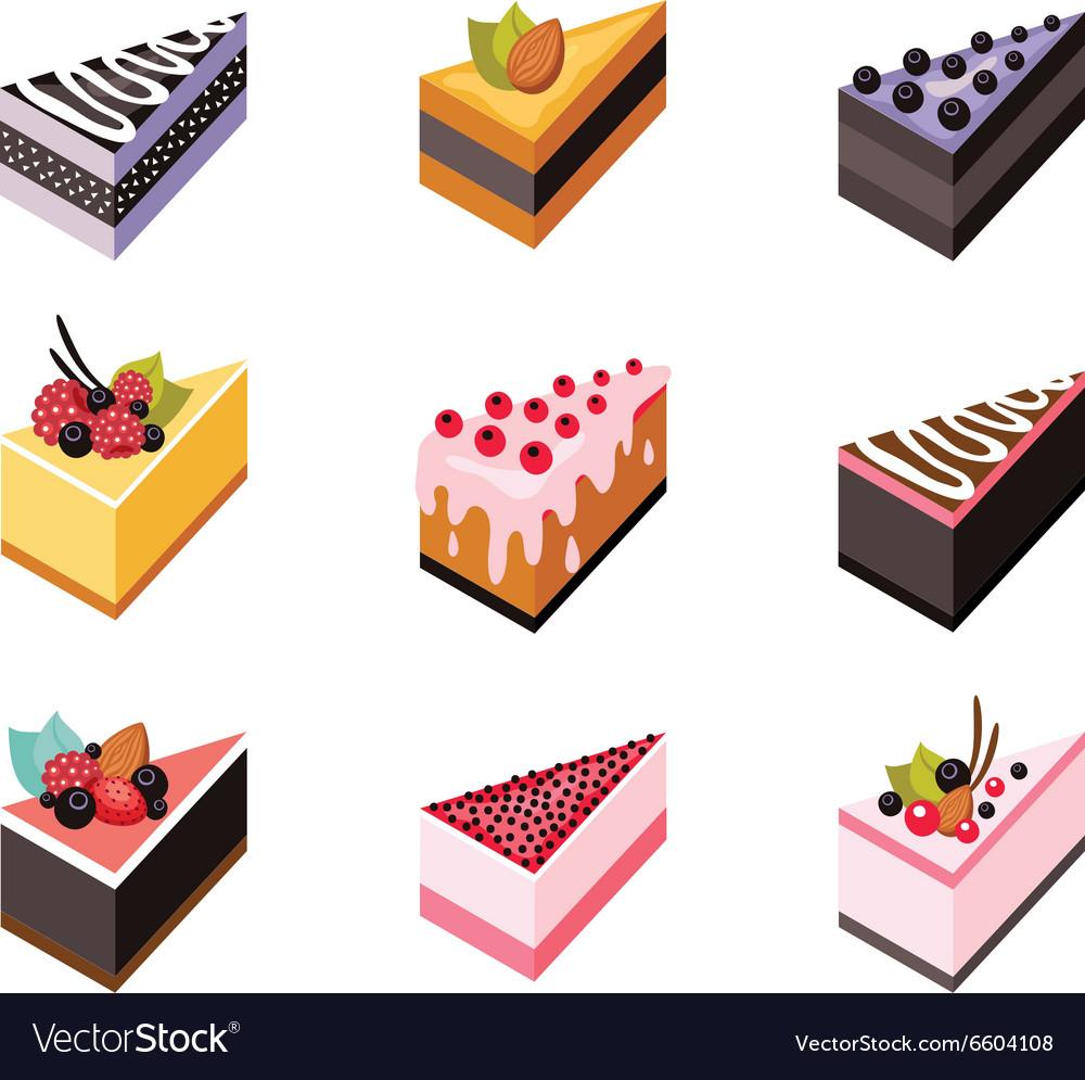Cake set Isometric flat design web icon collection