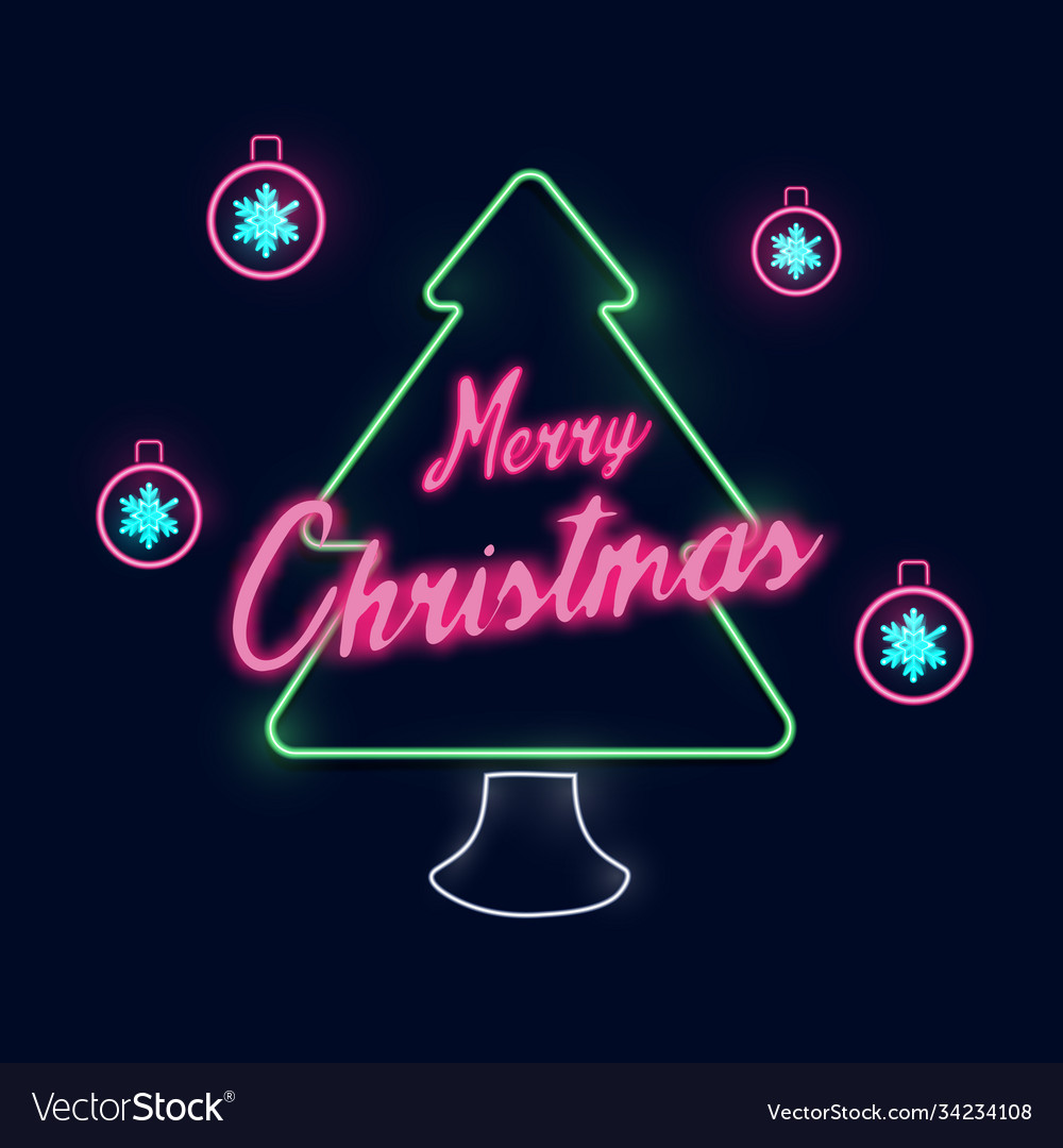 Christmas and new year tree neon light