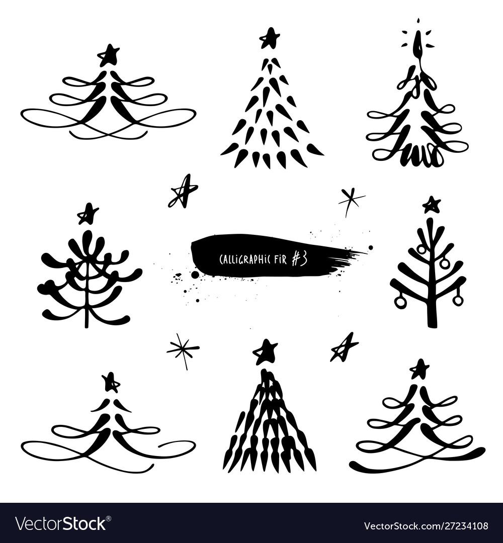 Christmas tree calligraphic set