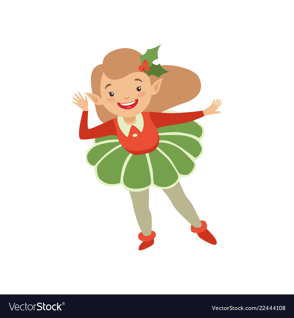 Cute christmas elf appy little girl in holiday Vector Image