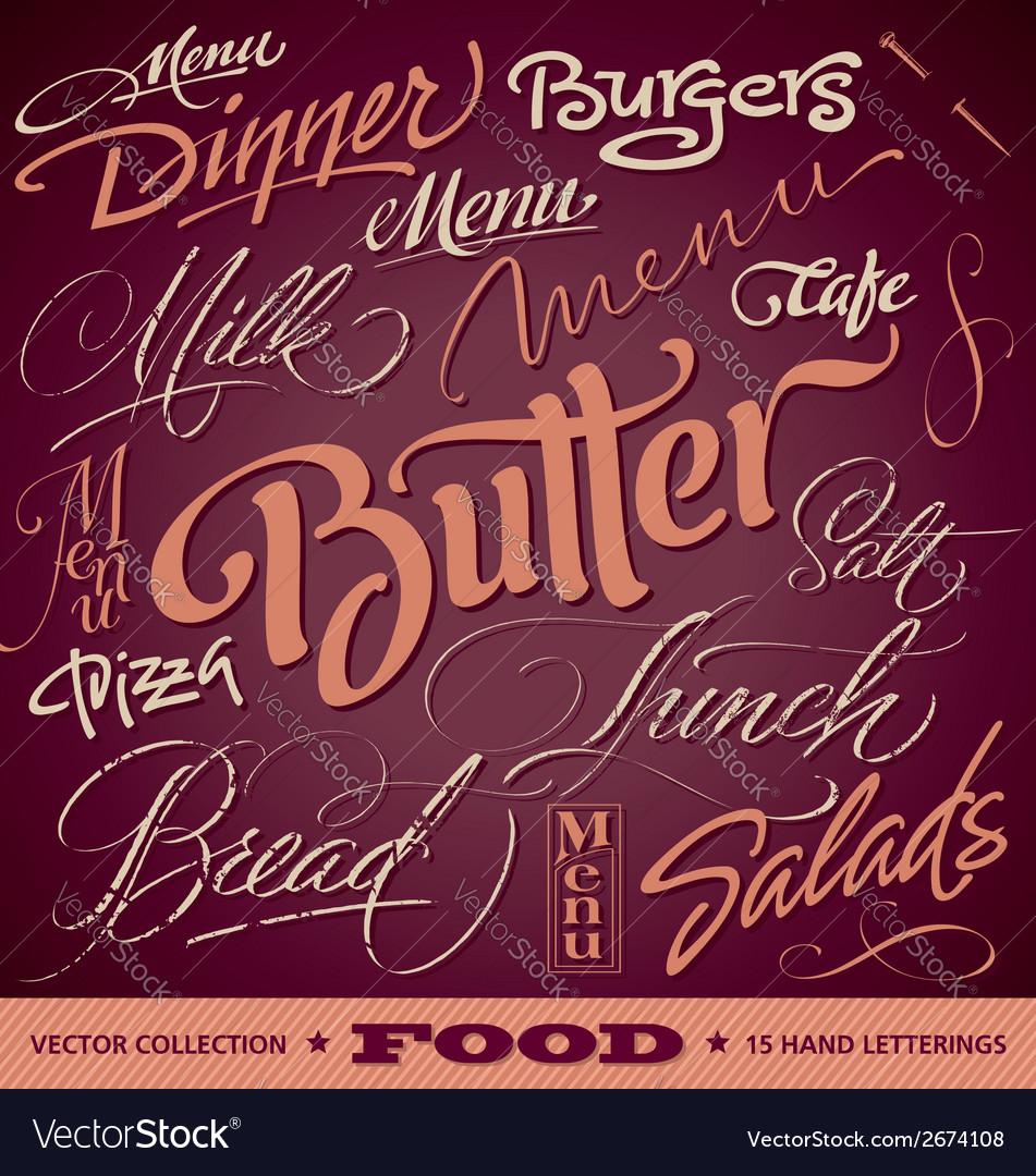 FOOD menu headlines set