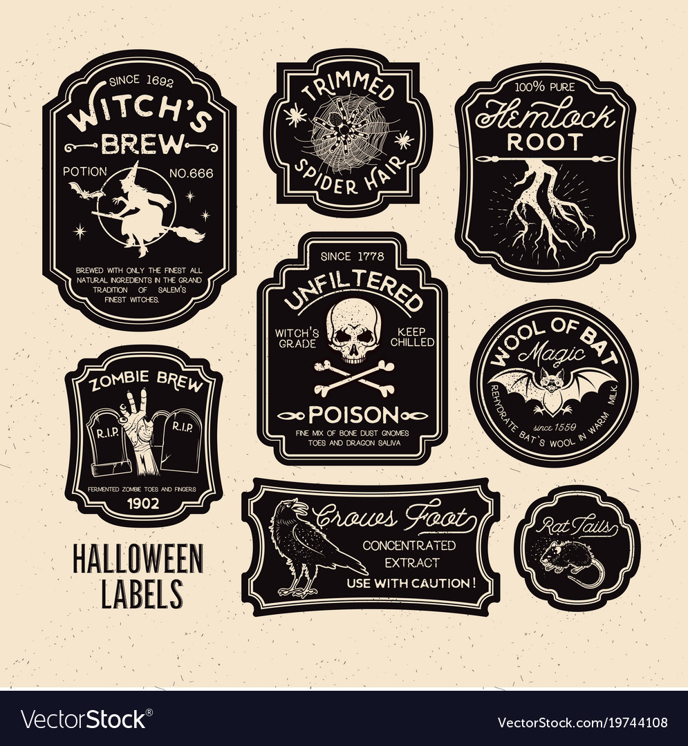 Perfect Halloween bottle labels potion labels Royalty Free Vector MS13