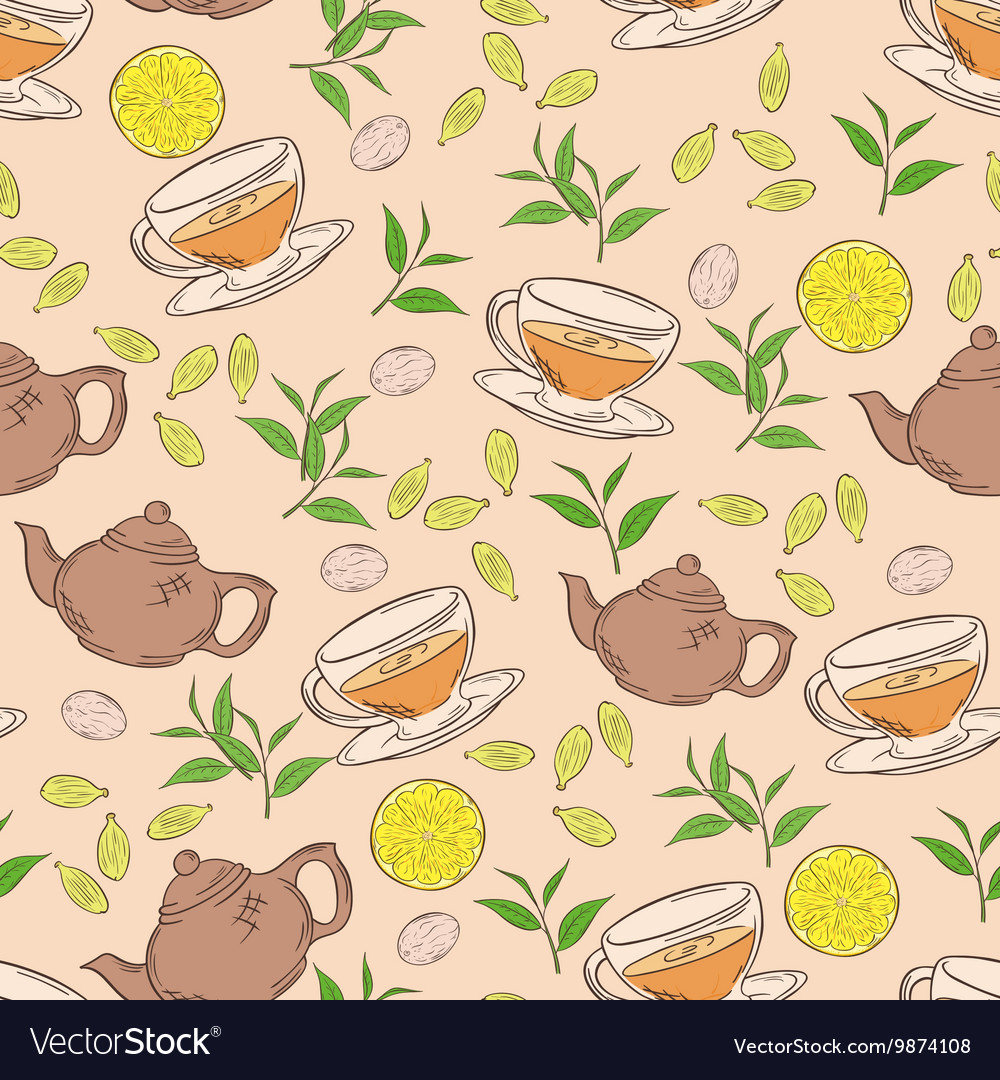 Hand drawn seamless pattern with coloured cup of