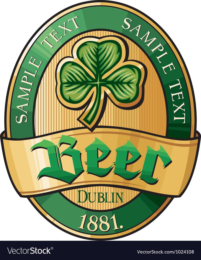 Irish beer label vector image