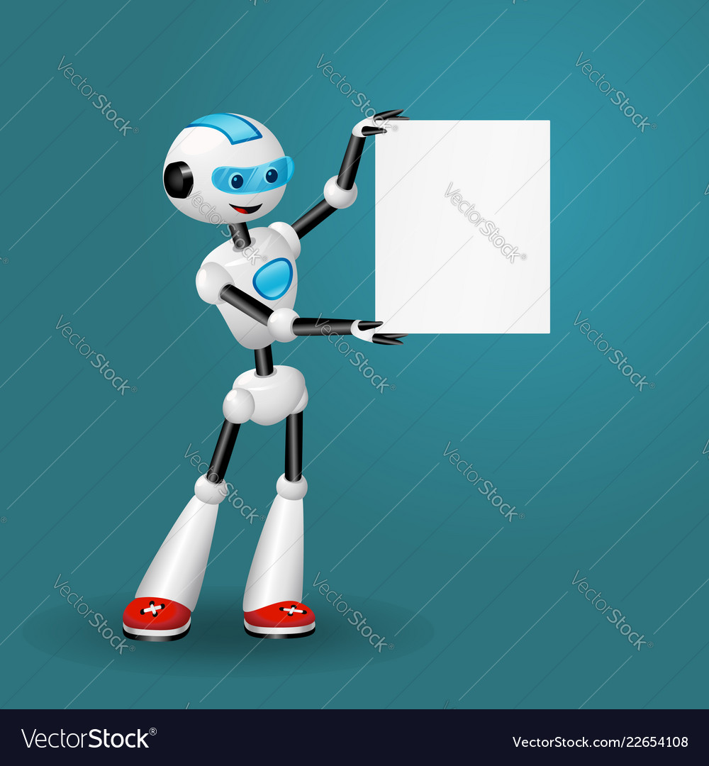 Robot holding blank sheet for text on blue back