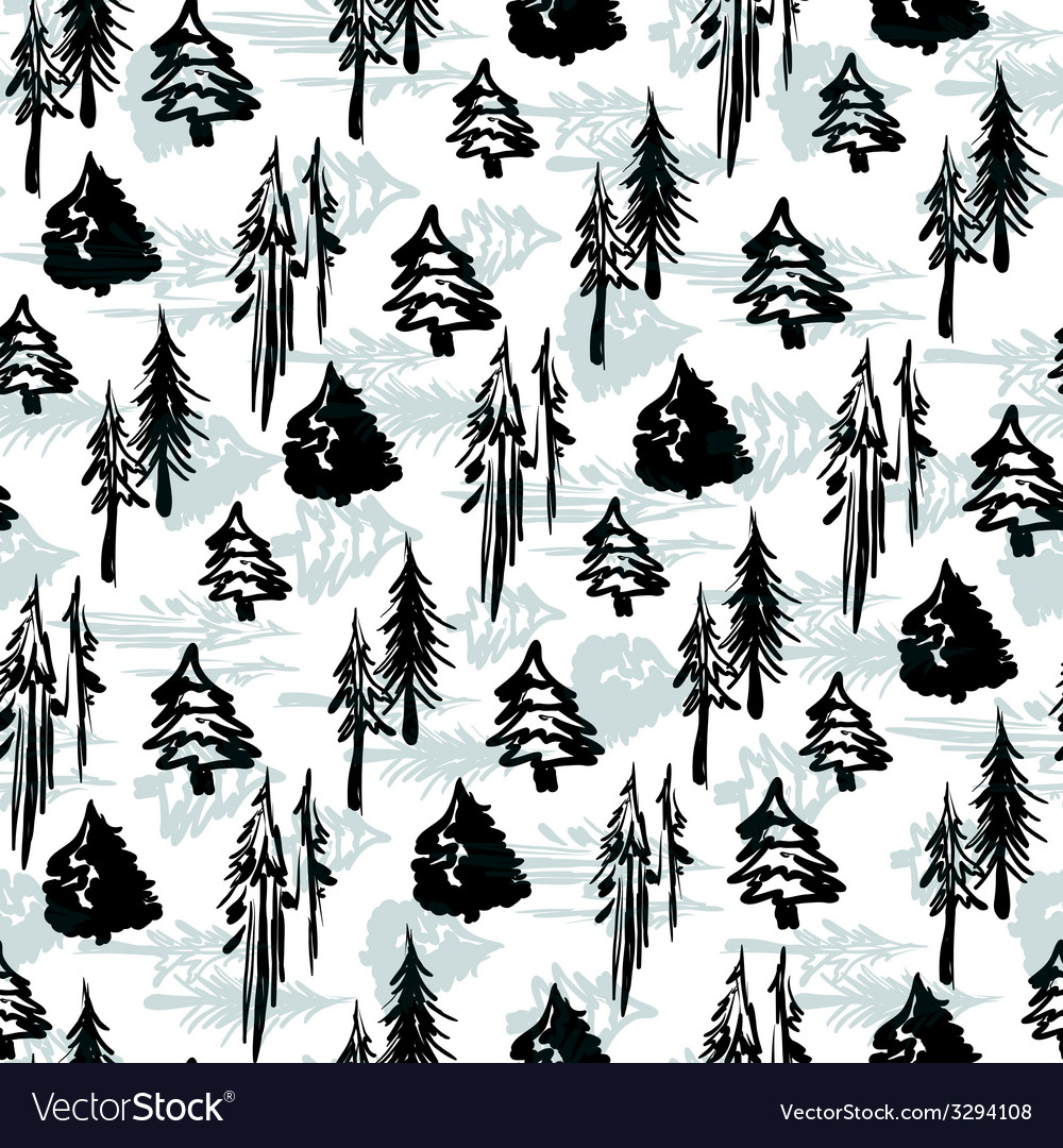 Seamless winter trees pattern