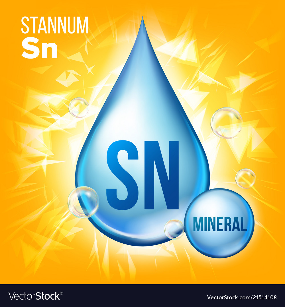 Sn Stannum Mineral Blue Drop Icon Vitamin Vector Image