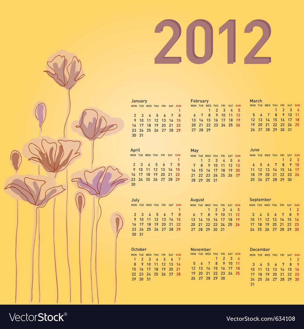 Stylish calendar with flowers for 2012 week starts