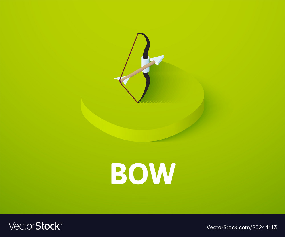 Bow isometric icon isolated on color background