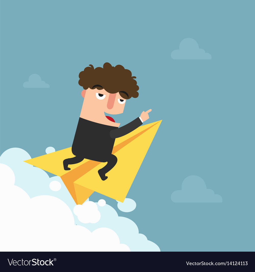 Businessman is flying on paper airplane and