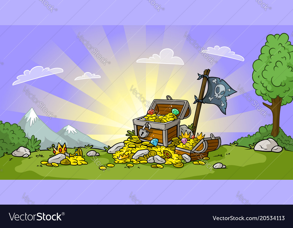 Cartoon treasure chest on landscape background