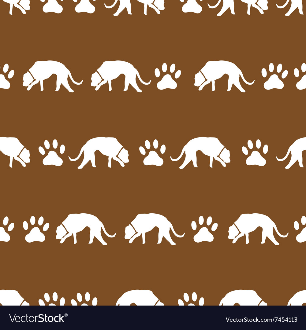 Dog and footprints brown shadows silhouette in vector image