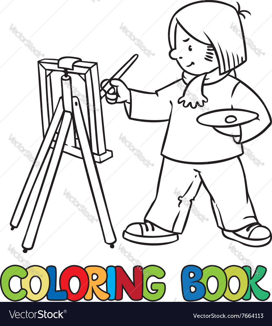 Funny artist or painter Coloring book