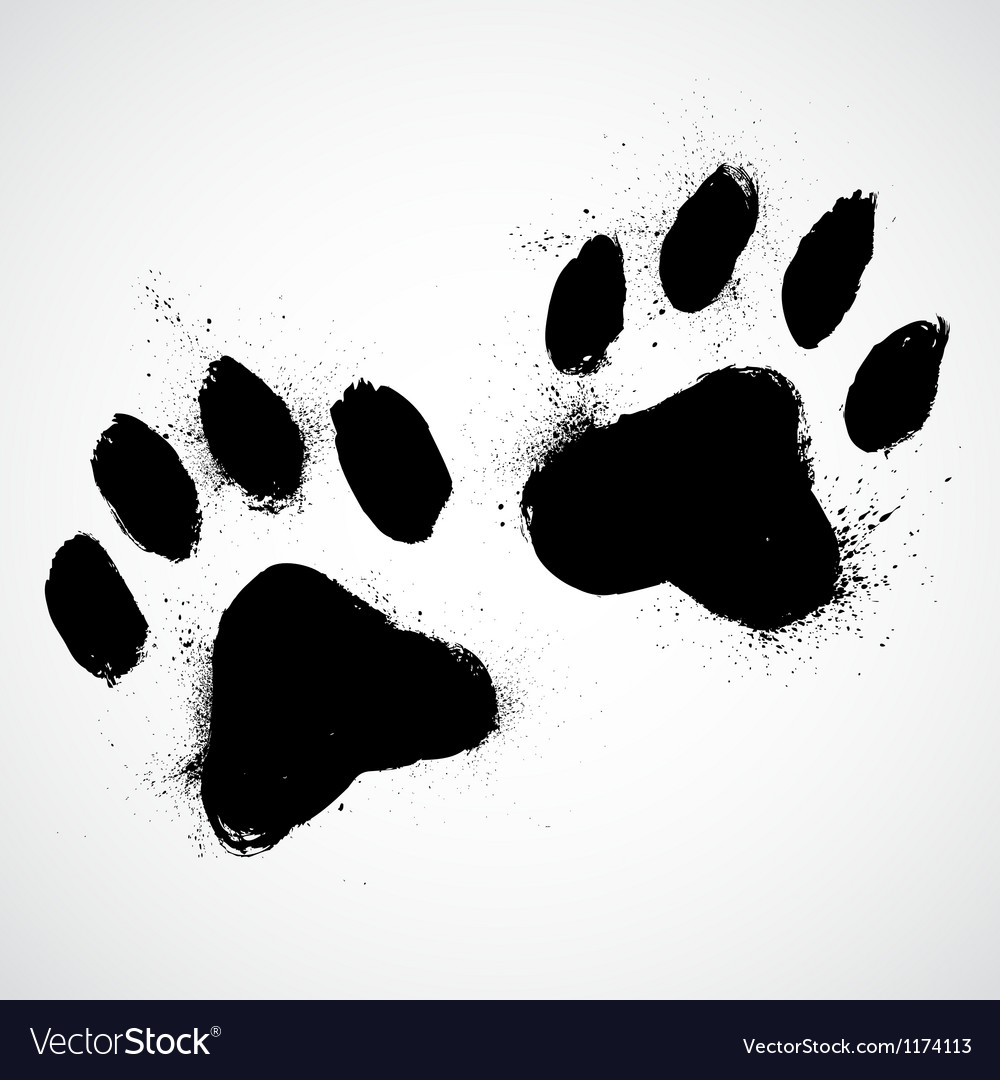 Grunge dog paws Royalty Free Vector Image - VectorStock