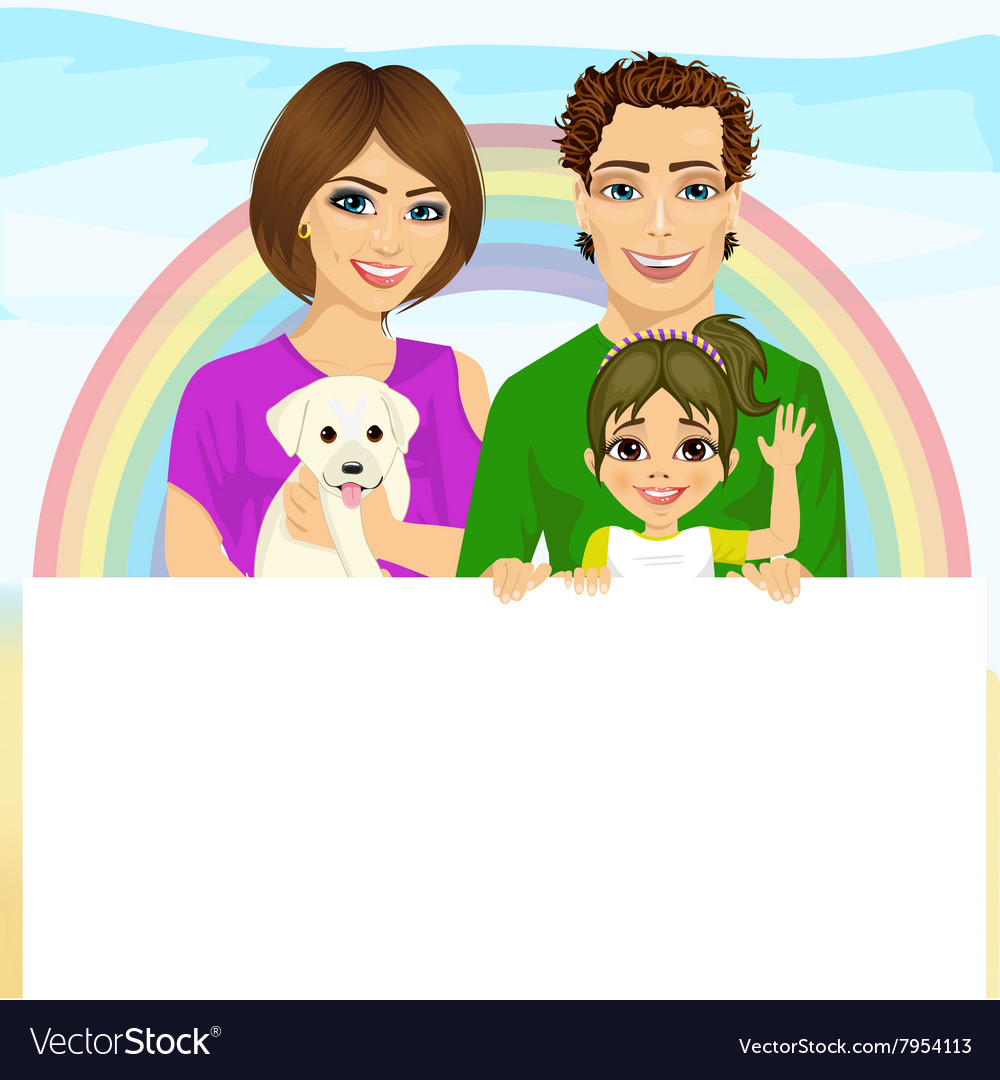 Happy family with pet dog holding blank billboard