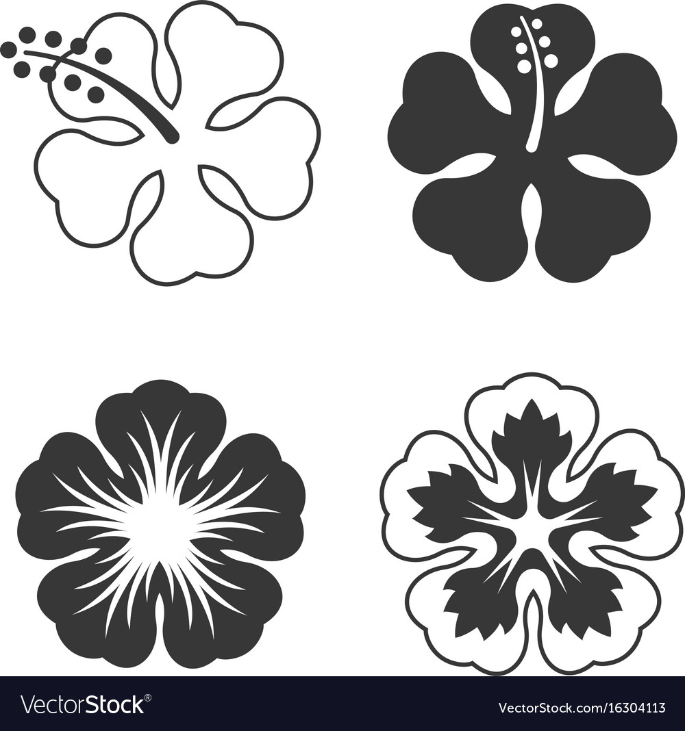 Hibiscus flowers set royalty free vector image hibiscus flowers set vector image izmirmasajfo