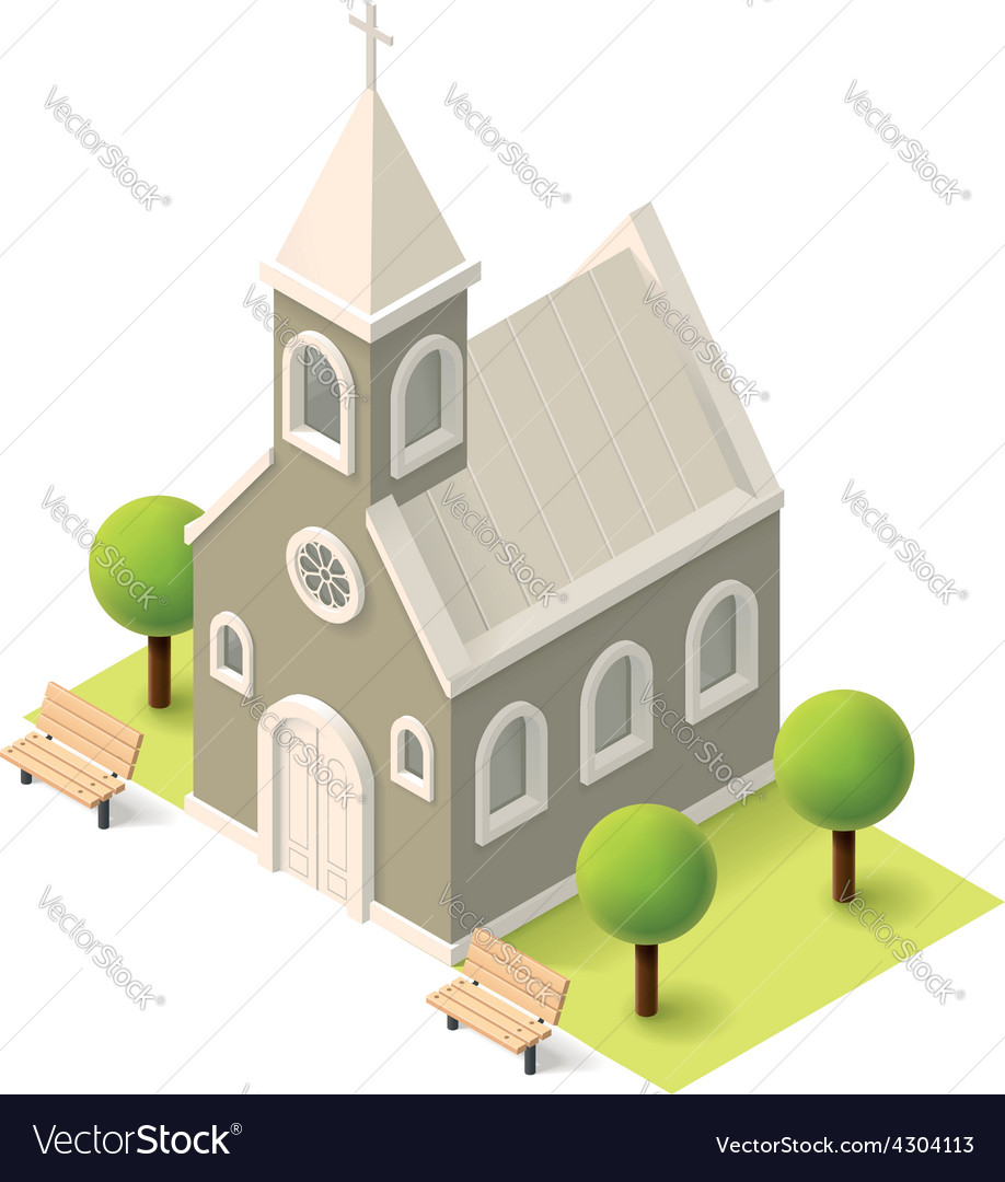Isometric church vector image