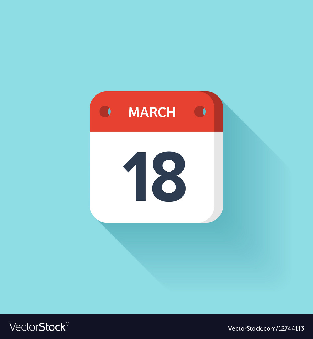 March 18 Isometric Calendar Icon With Shadow