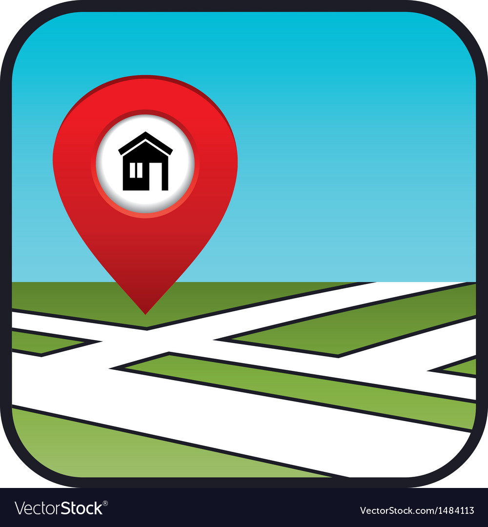 Street map icon with the pointer home