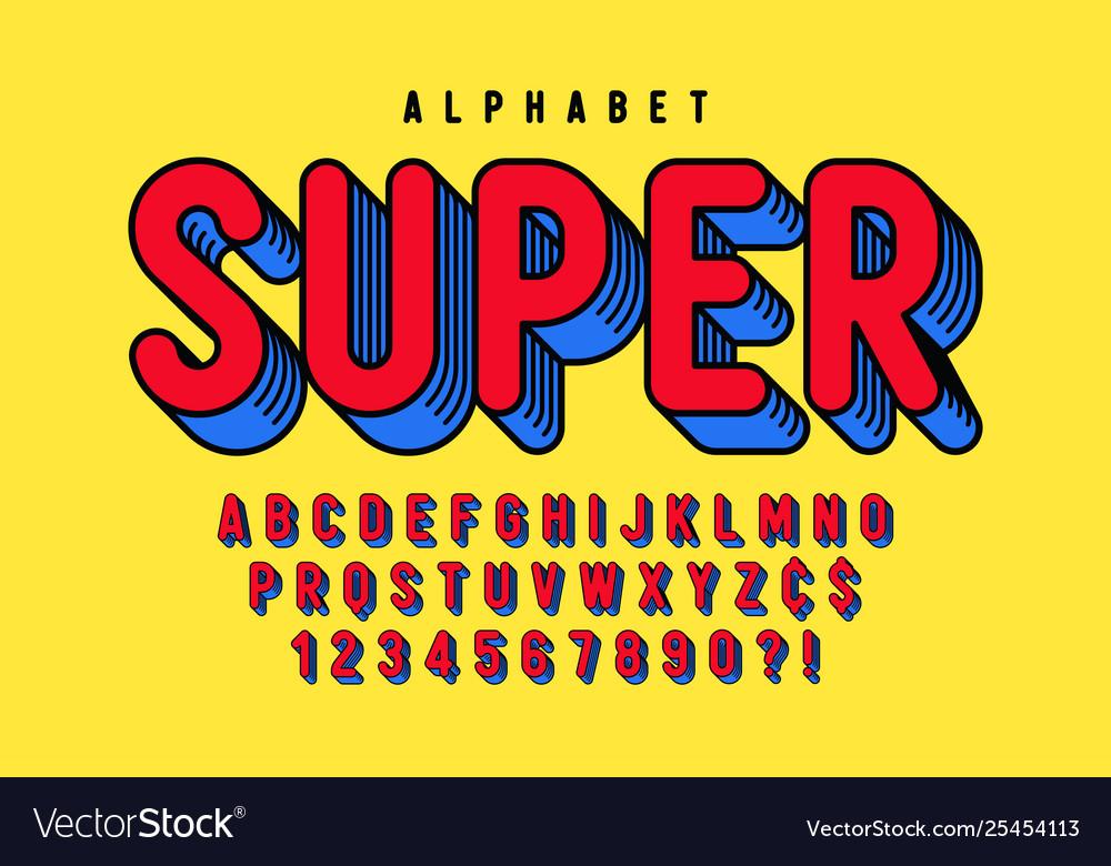 Trendy 3d comical font design colorful alphabet