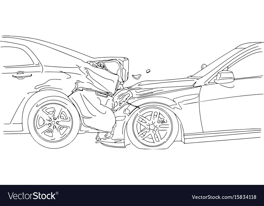 Auto Accident Involving Two Cars Royalty Free Vector Image