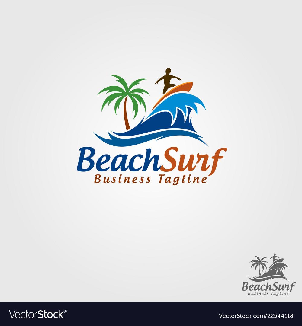 Beach surf logo template