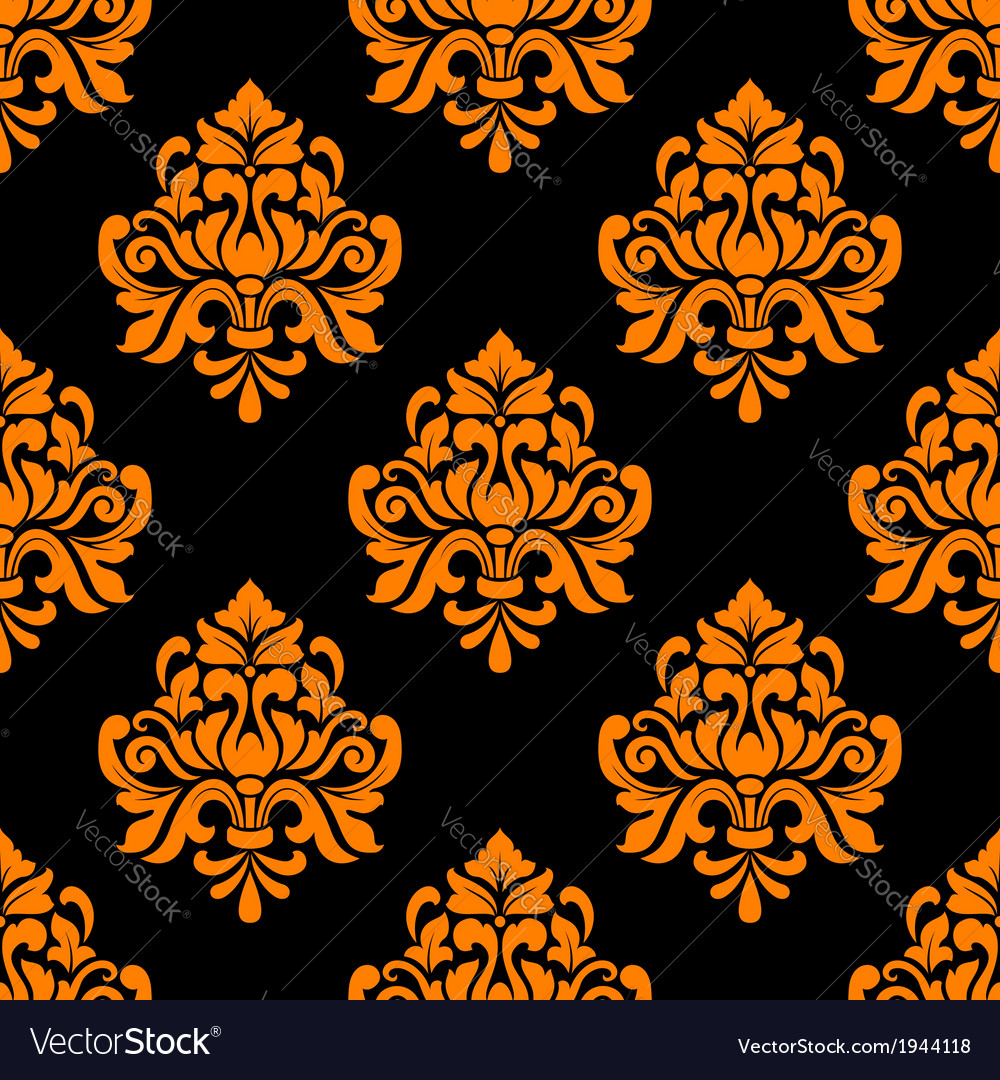 Black And Orange Seamless Floral Pattern Vector Image