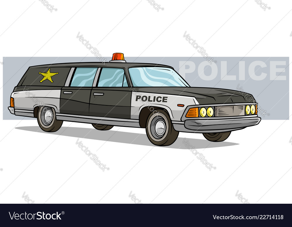 Cartoon black police retro car with golden badge