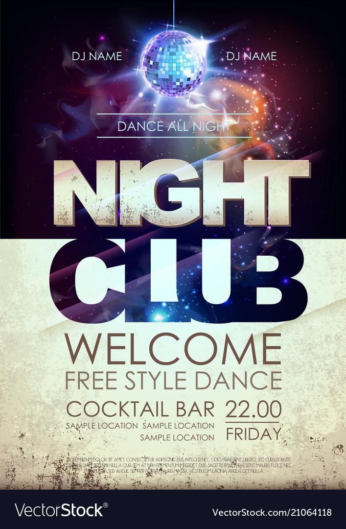 Disco ball background disco night club poster