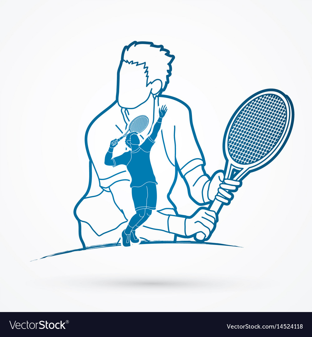 Double exposure tennis player sport man action